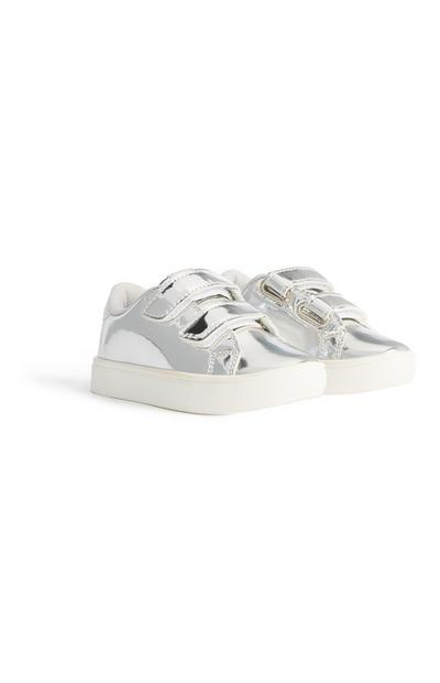 Younger Girl Silver Metallic Trainer