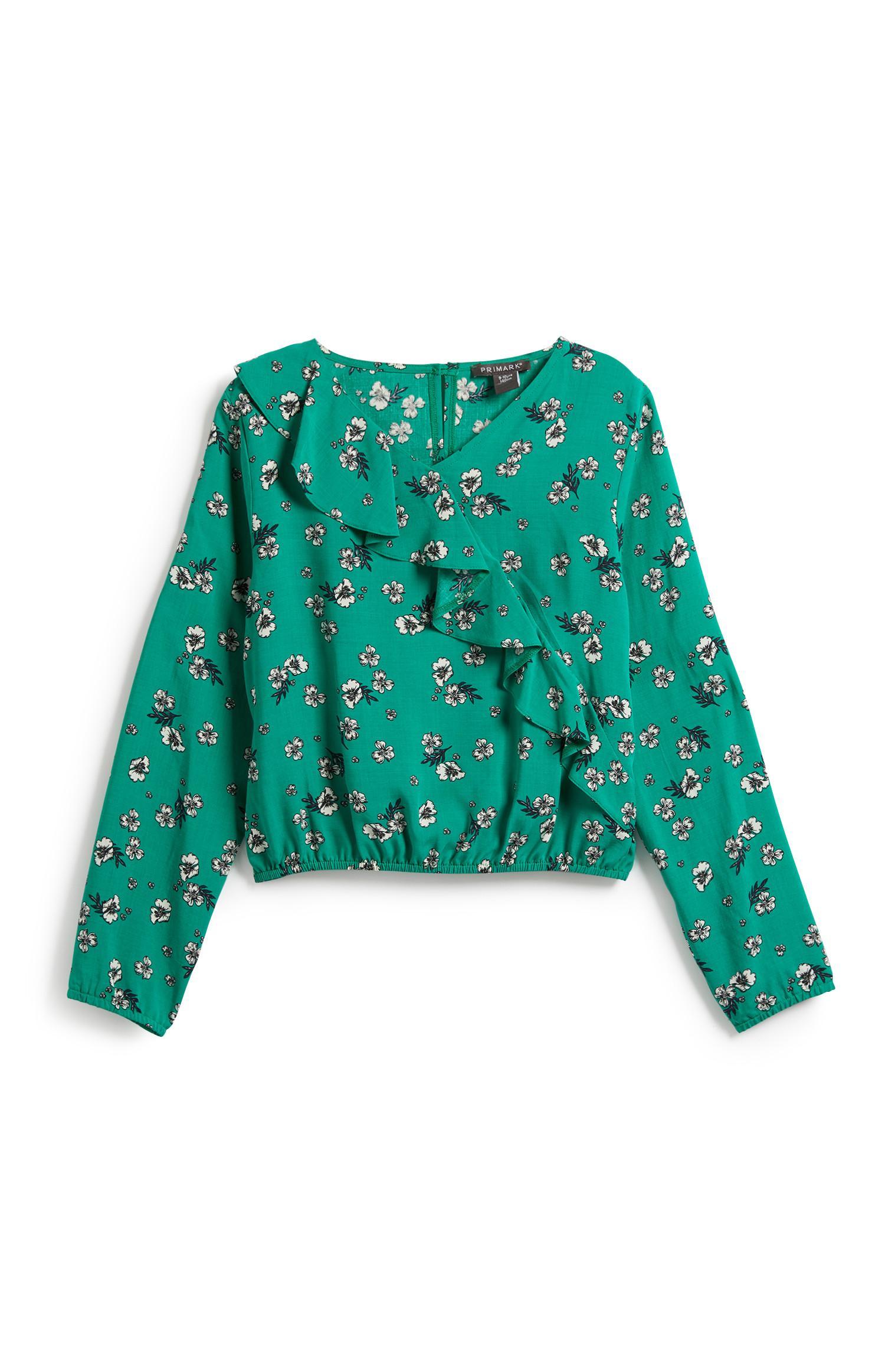 Older Girl Green Floral Blouse