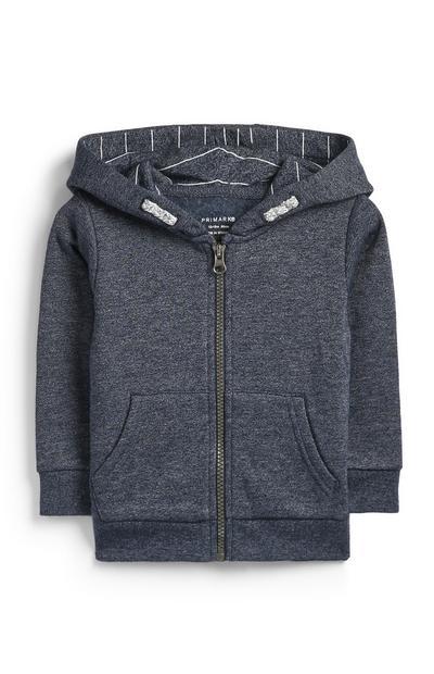 53489cdc Sudadera gris con capucha y cremallera para bebé niño