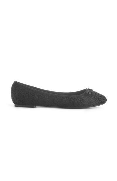 Black Crochet Ballerina Pump