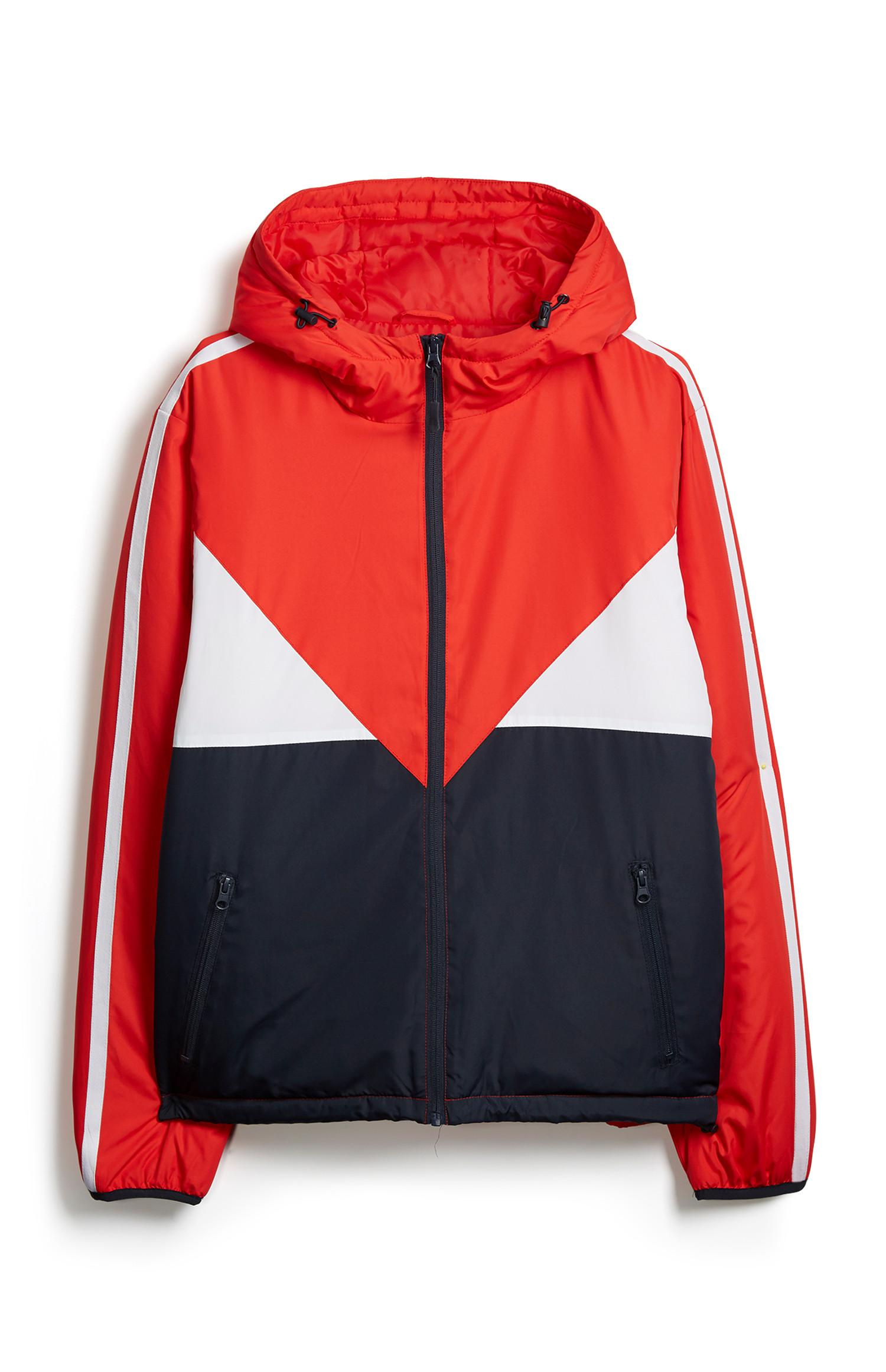 Veste color block rouge