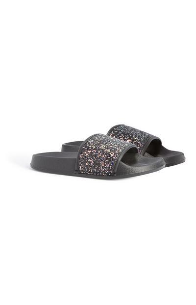Older Girl Black Glitter Slider