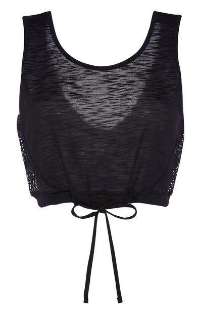Black Mesh Crop Vest