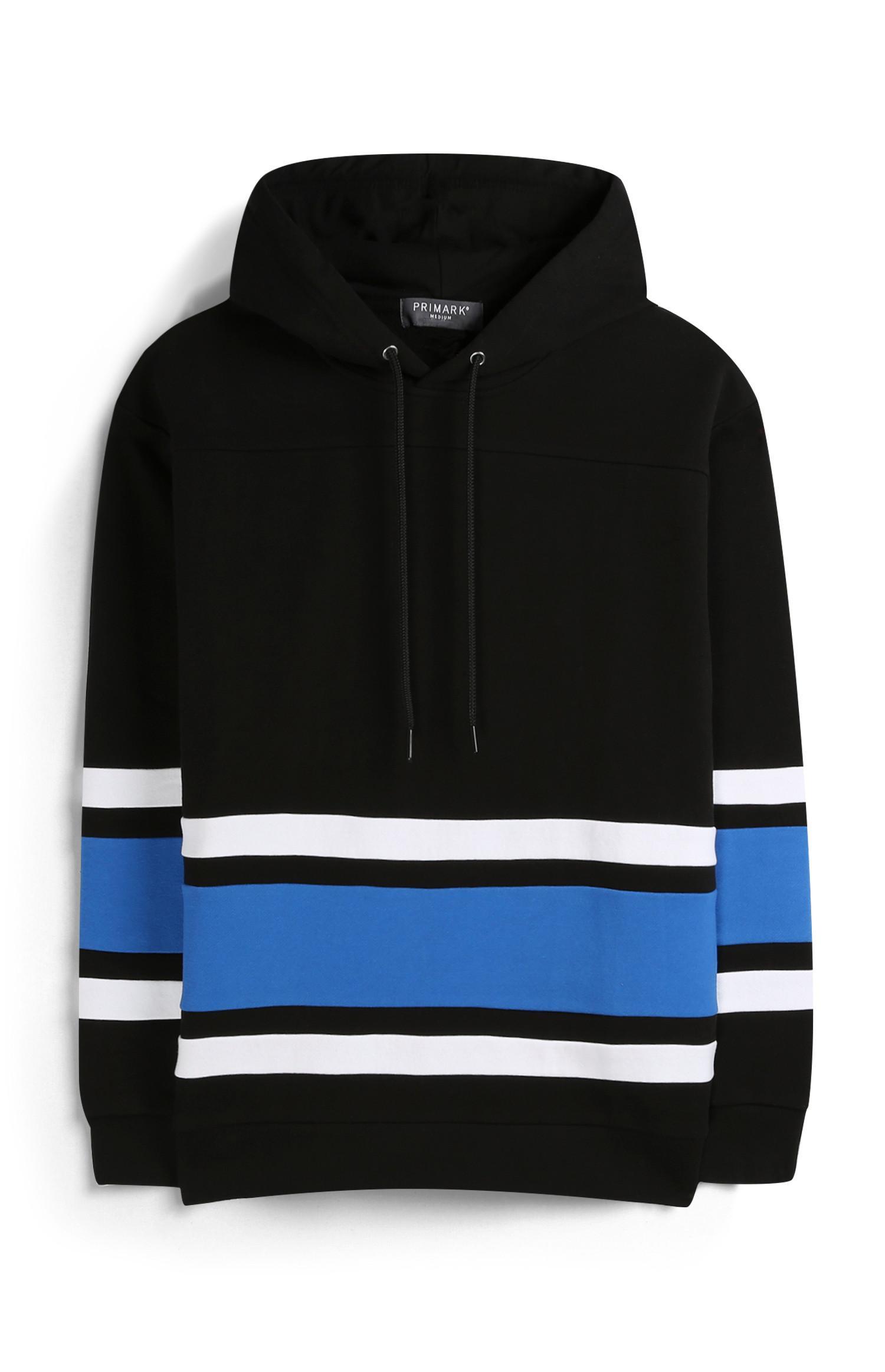 Zwarte hoodie met strepen