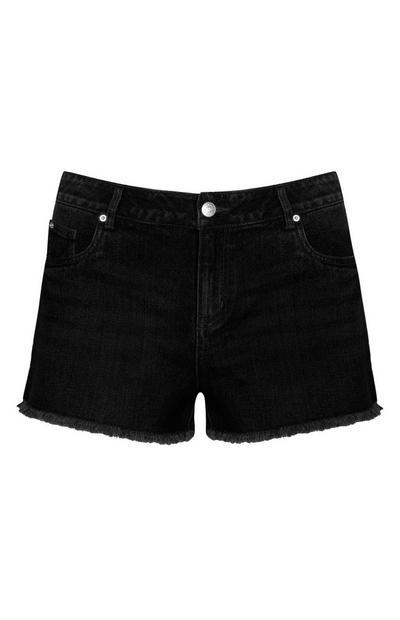 nuevo producto 833b9 ee666 mujer pantalones cortos shorts vaqueros negros de talle alto ...