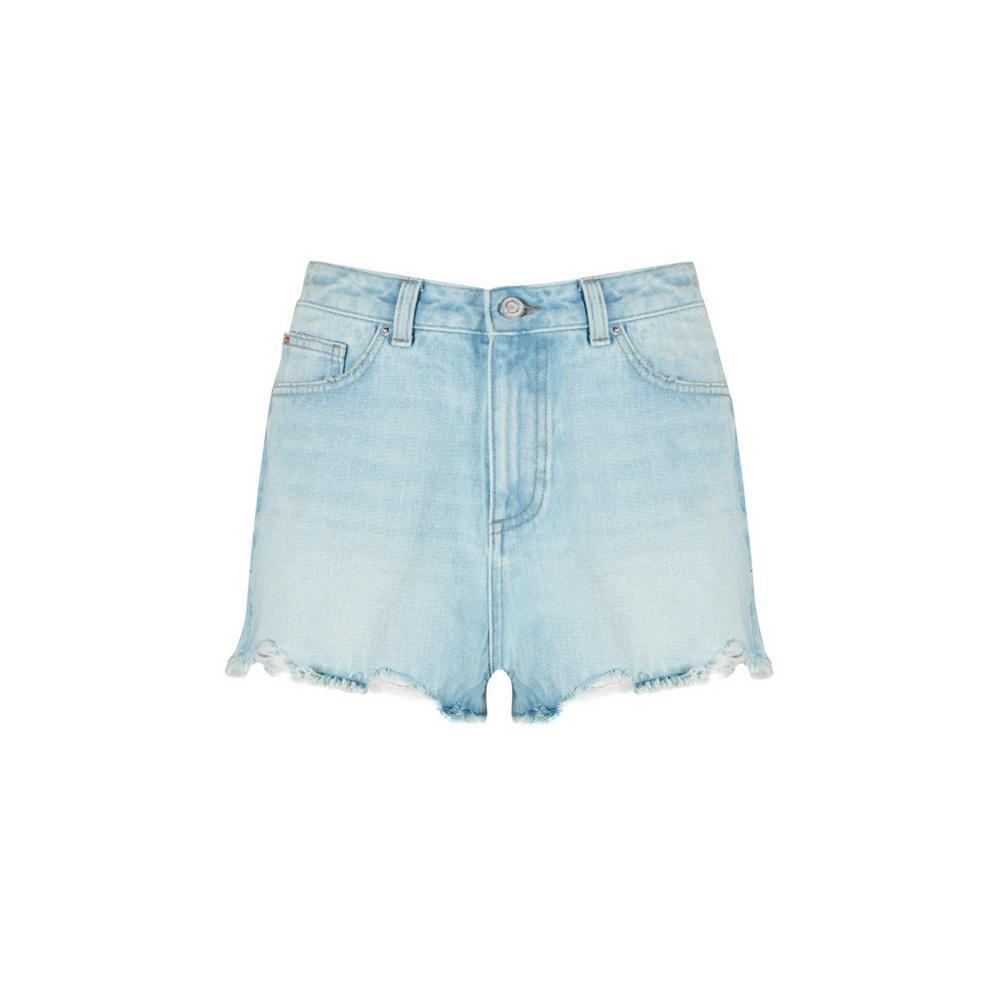 Korte Broek Dames Hoge Taille.Lichtblauwe Short Met Hoge Taille Korte Broeken Dames