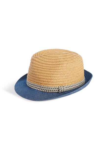 Denim Straw Hat