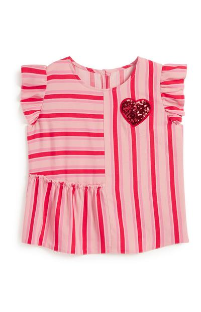 Younger Girl Pink Stripe Blouse