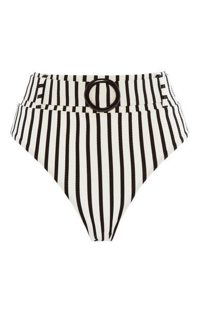 Gestreiftes Bikinihöschen mit hohem Bund