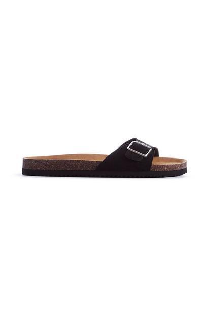 Black Buckle Sandal