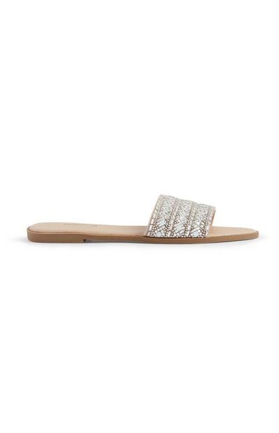 Nude Diamante Mule