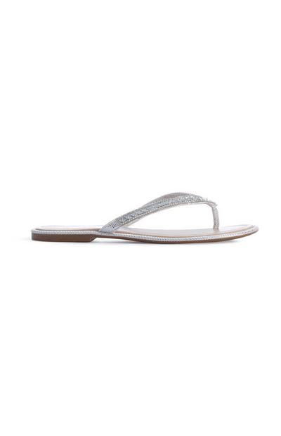 White Diamante Flip Flop