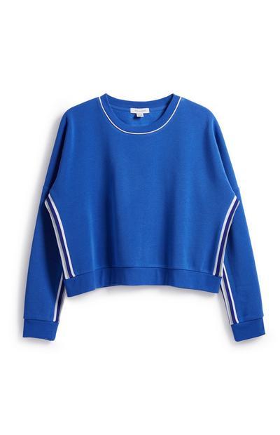 Blue Stripe Crop Sweatshirt