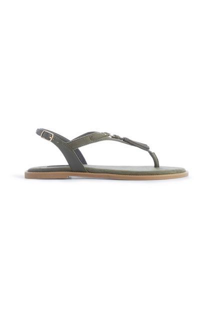 Khaki Tassel Sandal