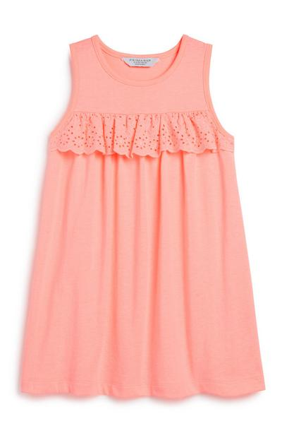 Younger Girl Broderie Coral Dress
