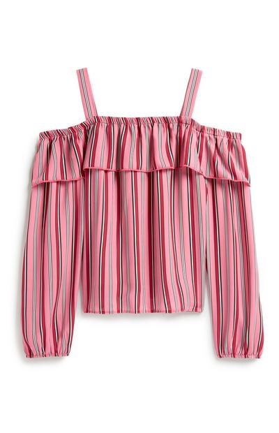 Older Girl Pink Stripe Blouse