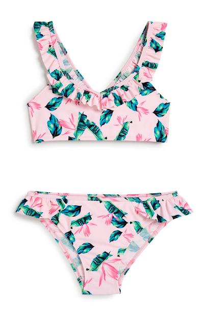Older Girl Tropical Frill Bikini
