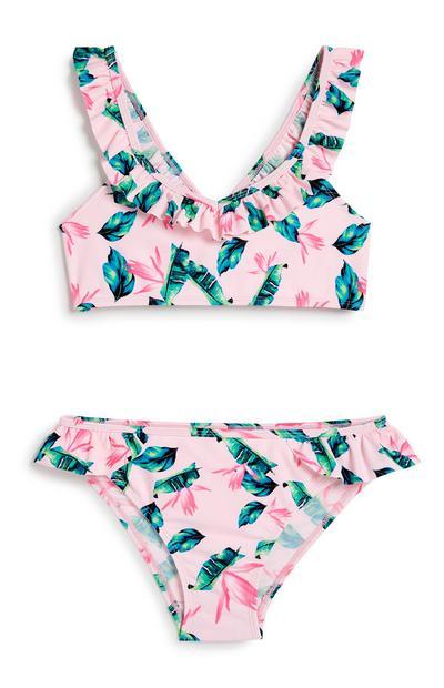 Older Girl Tropical Frill Bikini
