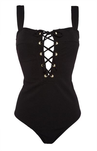 Black Lace Up Swimsuit