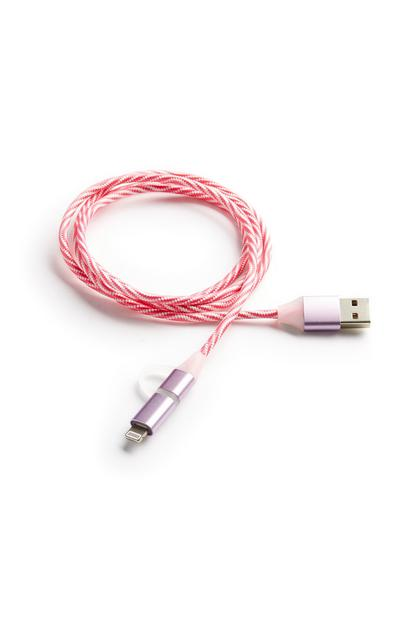 Pink 2in1 Data Sync And Charge Cable