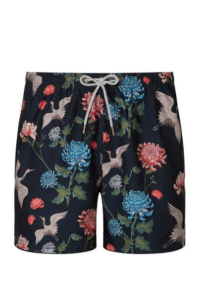 Black Floral Swim Short
