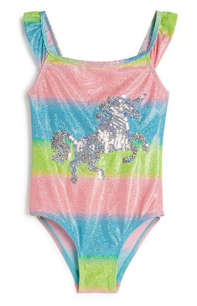 Younger Girl Sequin Unicorn Swimsuit
