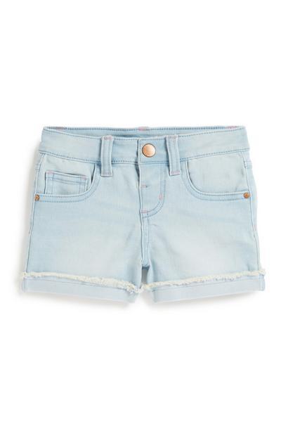 Light Blue Frayed Shorts