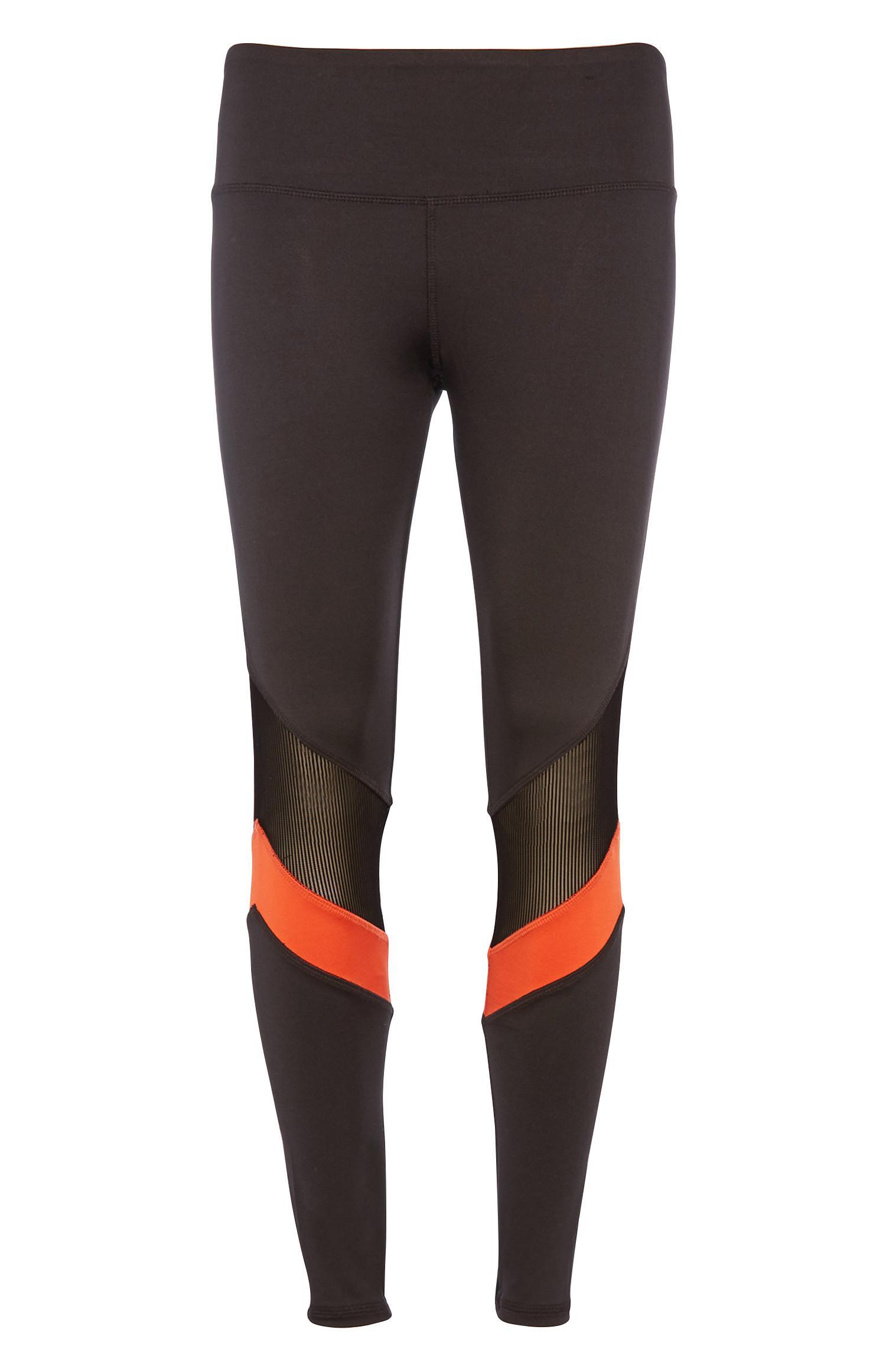 Zwarte gestreepte legging met mesh