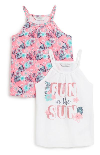 Younger Girl Floral Vest 2Pk