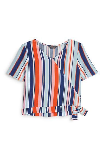 Older Girl Stripe Wrap Top