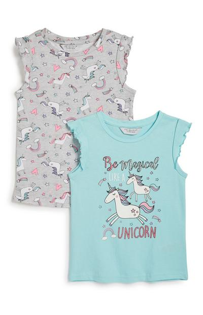 Younger Girl Unicorn Top 2Pk