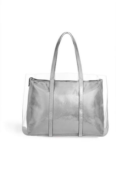Transparent Silver Tote