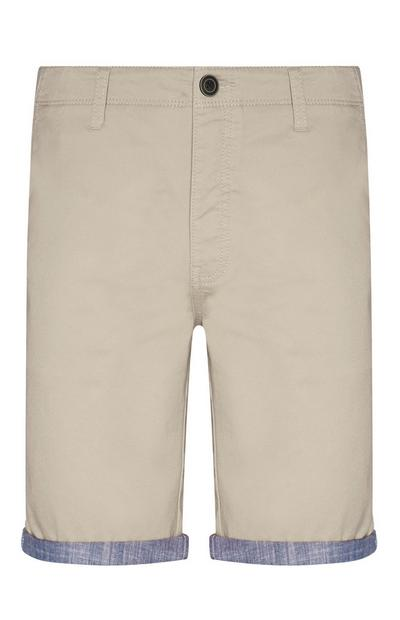 Beige Folded Chino Shorts