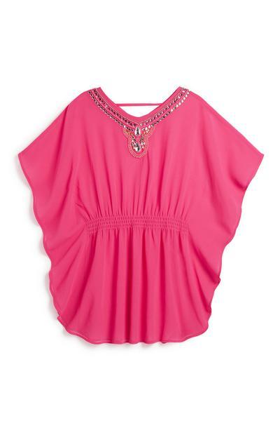 Older Girl Pink Sequin Kaftan