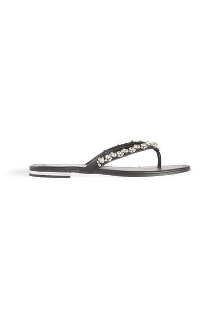 Black Diamante Flip Flop