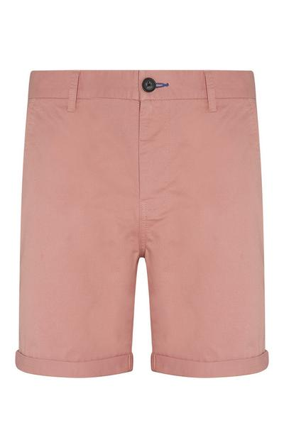 Pink Folded Chino Shorts