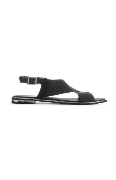 Black Cross Strap Sandal