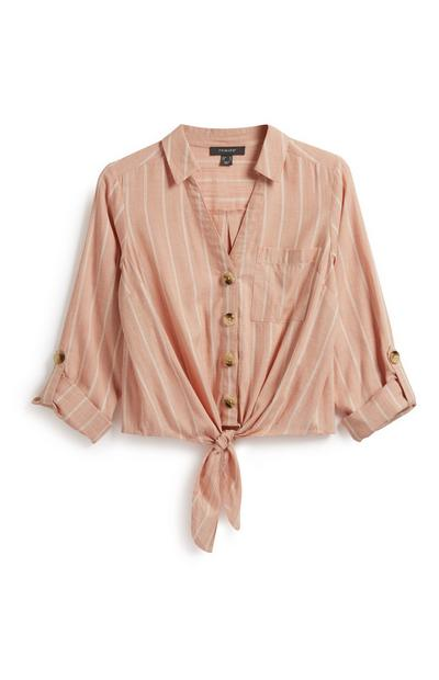 Stripe Button Tie Front Shirt