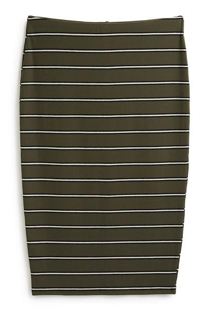 Jersey Stripe Midi Skirt