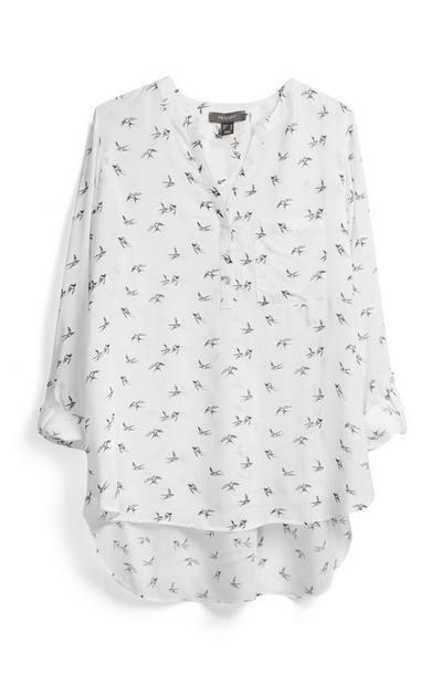 White Pattern Tunic Top