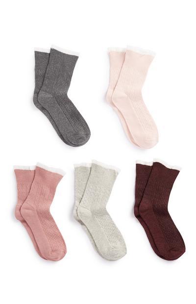 Socken mit Rüschen, 5er-Pack