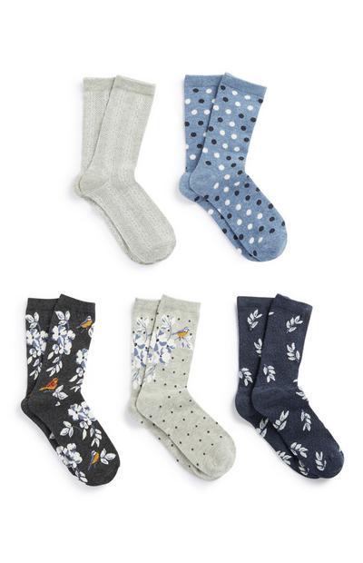 Floral And Polka Dot Sock 5Pk