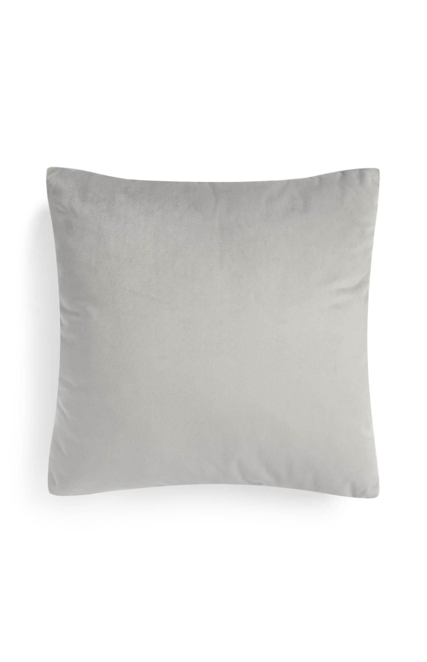 Grey Faux Velvet Cushion