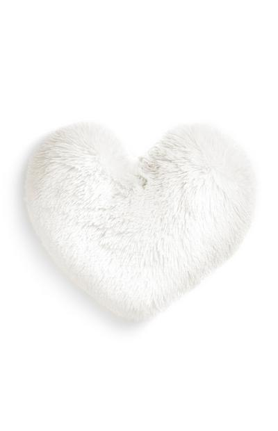 White Heart Cushion