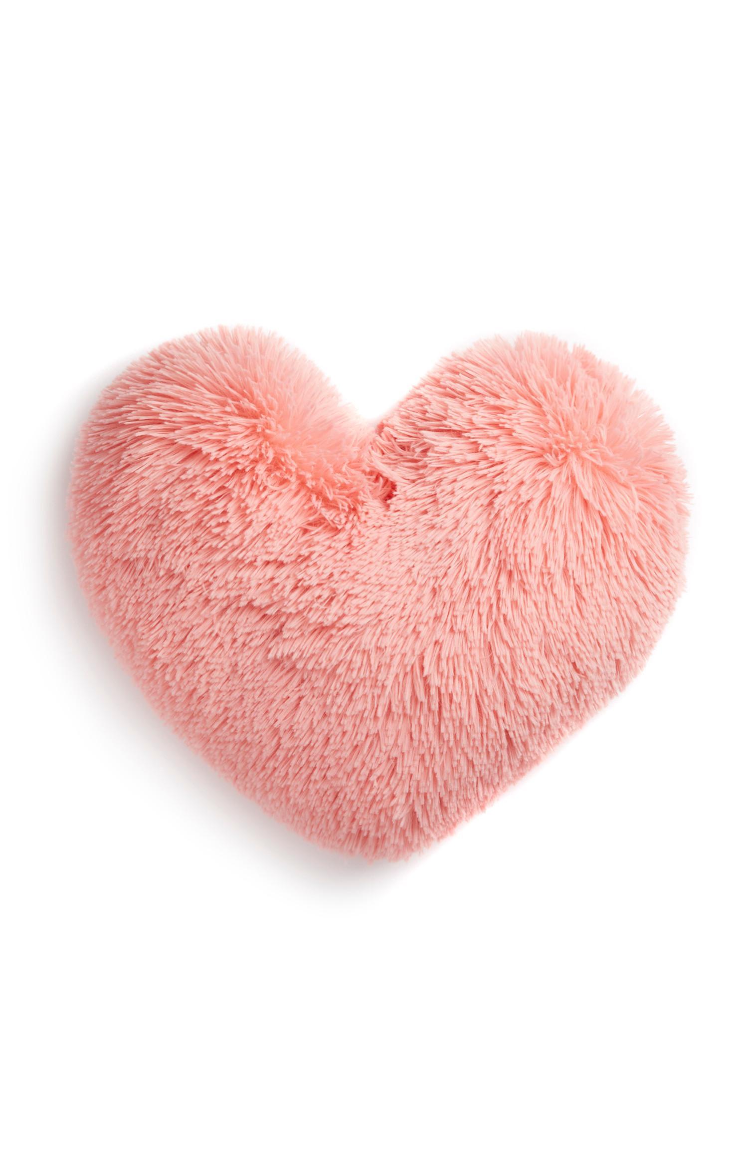 Almofada forma coração cor-de-rosa