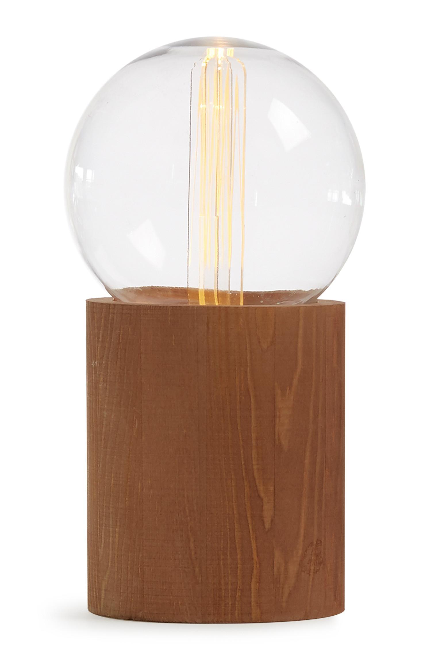 Wood Base Bulb Lamp