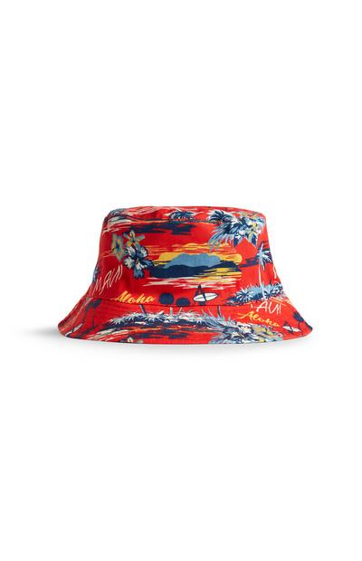 Red Exotic Print Bucket Hat