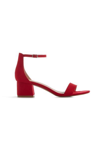 Red Block Heel Sandal
