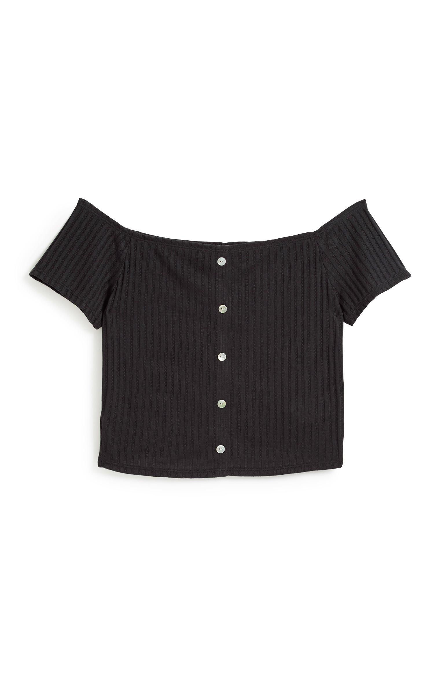Schwarzes Bardot-Top mit Knopfleiste