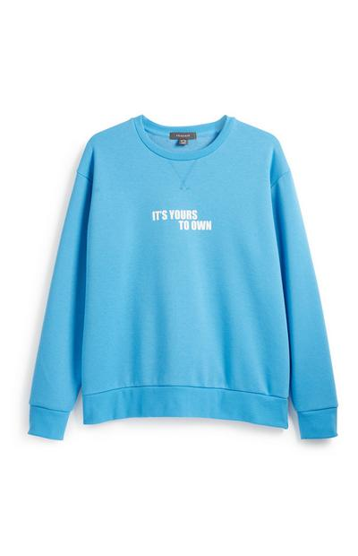Blue Slogan Sweatshirt